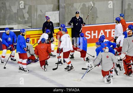 Bratislava, Slovakia. 18th May, 2019. Czech hockey players attend a training session of the Czech national team within the 2019 IIHF World Championship in Bratislava, Slovakia, on May 18, 2019. Credit: Vit Simanek/CTK Photo/Alamy Live News - Stock Image