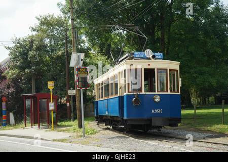 ASVi Museum 1918 Four Wheel Tramcar A.9515 at Entreville, Lobbes, Belgium -1 - Stock Image