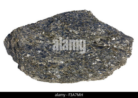 Biotite-rock (glimmerite). This rock is composed of only one mineral - iron-rich mica biotite. - Stock Image