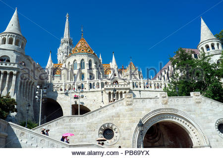 Matthias Church and the Fisherman's Bastion, in the Buda Castle District in Budapest, Hungary. - Stock Image