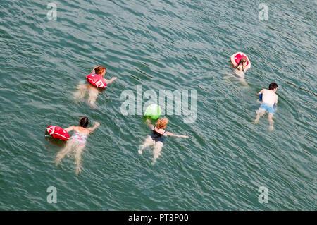 Swimming in the Rhine (Rhein) at Basel, Switzerland - Stock Image
