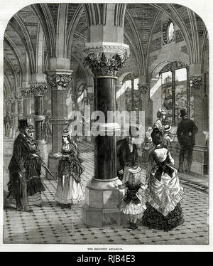 Interior of Brighton Aquarium, construction of a new sea-wall and promenade, the Madeira Road, which was commenced in 1869. The whole project was completed in 1872 at a cost of £130,000. - Stock Image