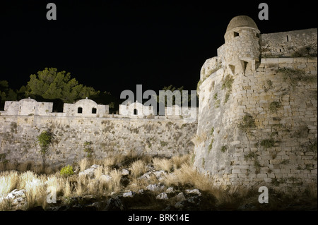 Rethymno Fortezza wall and battlements illuminated Crete Greece - Stock Image