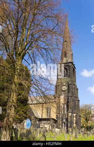 St Peters church in the village of Walsden near the Lancashire/Yorkshire border, substantially rebuilt after a fire - Stock Image