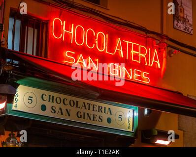 Famous Madrid Chocolatería San Ginés, Chocolateria San Gines Chocolate Bar in the Pasadizo de San Gines. Madrid, Spain. - Stock Image