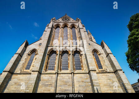 East end of Truro Cathedral, the Cathedral of the Blessed Virgin Mary, Cornwall, UK, was built between 1880 and 1910, from local granite. - Stock Image