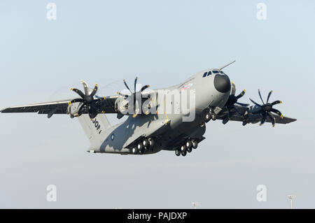 the first-flight take-off of the first Airbus A400M flight-test aircraft at Seville San Pablo 11th December 2009 - Stock Image