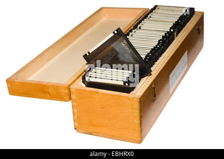 Photographic glass plates in a wooden box. - Stock Image