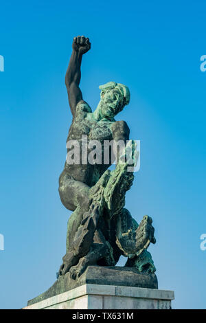 Sunny view of the famous Liberty Statue at Budapest, Hungary - Stock Image