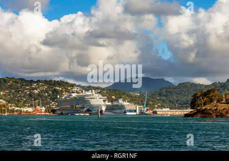 Castries harbour, Saint Lucia. - Stock Image