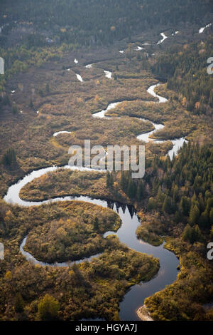 The boggy wetalnds of the Nulhegan River in Ferdinand, Vermont.  Near Island Pond.  Conte National Wildlife Refuge. - Stock Image