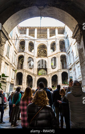 NAPLES, ITALY - JANUARY 17, 2019 - Sanfelice Palace in the rione Sanità was built in 1724 by the architect Ferdinando Sanfelice - Stock Image