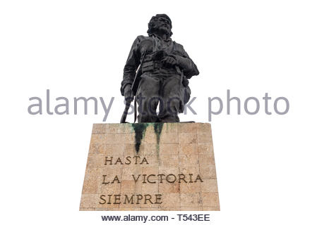 Low angle view of the Ernesto Che Guevara statue in the Revolution Square of the city. The place is a Cuban National Monument and tourist attraction. - Stock Image