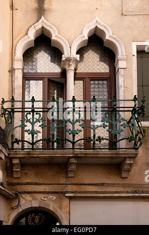 Attractive verandah with wrought iron railings on Calle Lungha Venice Italy - Stock Image