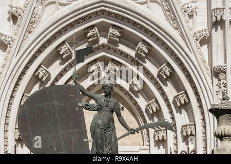Close up detail of ornate decoration outside the tourist entrance to Seville Cathedral, Seville, Andalucia, Spain - Stock Image