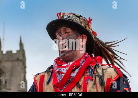 Haxey, Lincolnshire, England, UK – The Fool participates in the traditional ancient custom of The Haxey Hood since the 14th Century - Stock Image