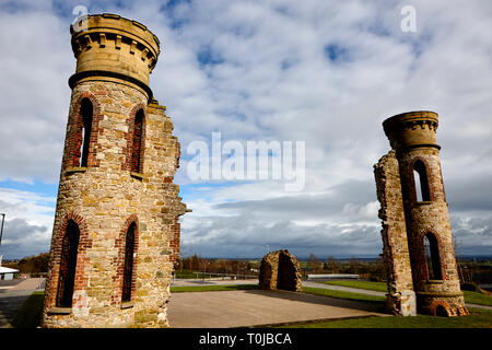 hill of the oneill castle hill dungannon county tyrone northern ireland uk remnants of castle which was home to the Oneill clan ancient capital of uls - Stock Image