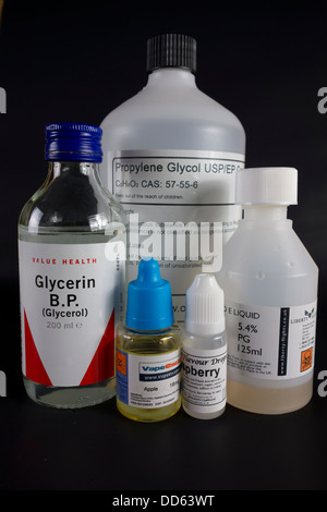 All of the ingredients needed to make e-liquid nicotine for electronic cigarettes or e-cigs - Stock Image