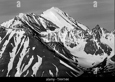 St. Elias Mountains looking at Kluane National Park at sunrise from Haines Junction Yukon Canada from Haines Junction Yukon Canada - Stock Image