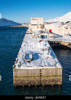 A dock in winter at Havøysund, the administrative centre of the Måsøy Municipality, Finnmark County, - Stock Image
