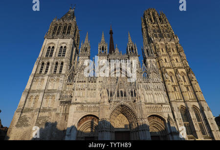 Rouen Cathedral is a Roman Catholic Church in Rouen, Normandy. The cathedral is in the Gothic architectural tradition. - Stock Image