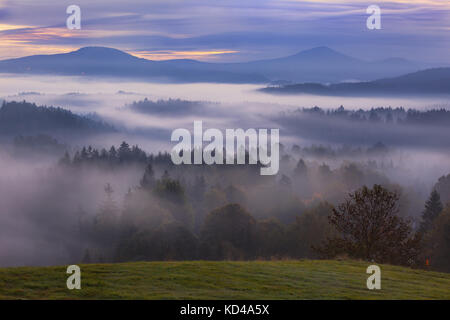 foggy dawn over the Bohemian Switzerland - Stock Image