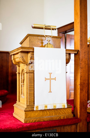 A church pulpit in rural Montana. - Stock Image