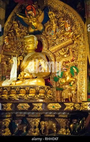 Dungten Lakhang at Sakya Monastery, containing relics of successive throne-holders, Sakya, western Tibet, China - Stock Image