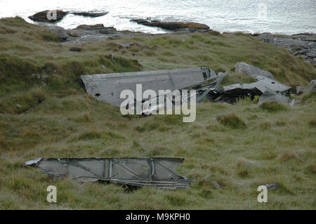Catalina Wreckage on Vatersay, Western Isles - Stock Image
