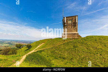 Parson's Folly on top of the Earthworks at Kemerton Camp Iron Age Fort on Bredon Hill, Worcestershire, England - Stock Image
