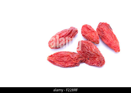 Goji berries isolated on white. - Stock Image