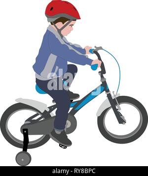little boy riding bicycle color illustration - vector - Stock Image