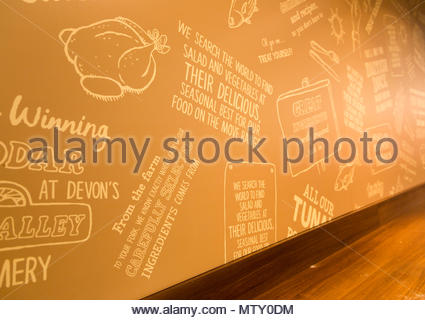 Marks and Spencer claims about the sourcing of their food products in one of their store cafes, Swindon, Wiltshire, England, UK - Stock Image