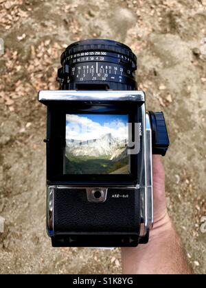 Half dome through the view finder of a medium format  hasselblad medium format camera. Half Dome, Yosemite national - Stock Image