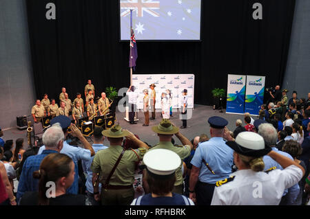 Darwin, Australia. 26th Jan, 2019. Raising of the flag for Australia Day, at the Darwin Convention Centre - Credit: Regis Martin/Alamy Live News - Stock Image