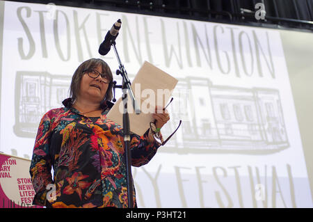 Author Ali Smith reading at the 9th annual 2018 Stoke Newington Literary Festival in Hackney, East London - Stock Image
