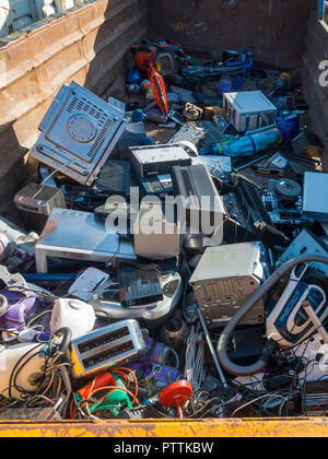 An English Local Authority Recycling centre skip for disposal of small electrical appliances - Stock Image