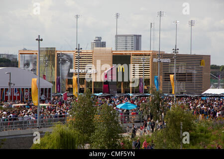 Southern MacDonalds restaurant at Olympic Park, London 2012 Olympic Games site, Stratford London E20 UK, - Stock Image