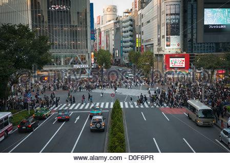 Aerial view of Shibuya Crossing Shibuya Tokyo Japan - Stock Image