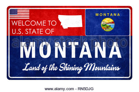 Welcome to Montana - grunde sign - Stock Image