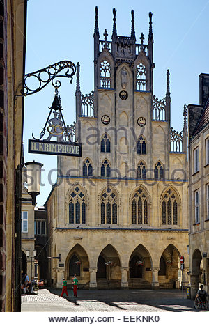 The historic Rathaus (city hall) of Münster, Germany, was site of Peace of Westphalia and birthplace of the - Stock Image