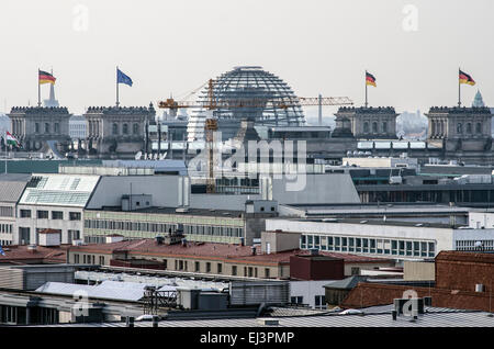 German Reichstag distant view over the roofs of Berlin. - Stock Image