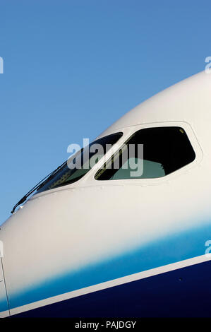 windshield of the first Boeing 787 Dreamliner at the roll-out ceremony - Stock Image