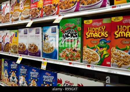 Shelves full of breakfast cereal for sale in a grocery store in Speculator, NY. - Stock Image