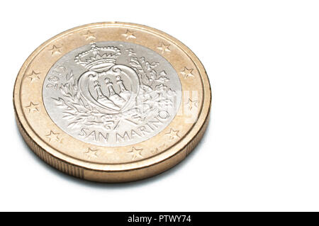 San Marino one euro coin isolated on white background, macro shot - Stock Image