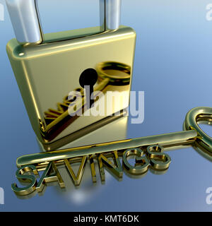 Padlock With Savings Key Showing Investment Growth Or Wealth - Stock Image