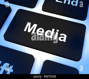 Media Computer Key Showing Internet Broadcasting - Stock Image