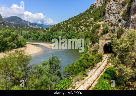 Mountain landscape close to river Nestos in Greece with railways. - Stock Image