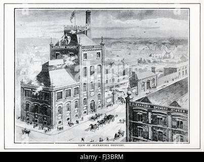 The Alexandra Brewery, Bolton, 1890 Engraving of the Stewart Street brewery of John Halliwell & Son, built in - Stock Image