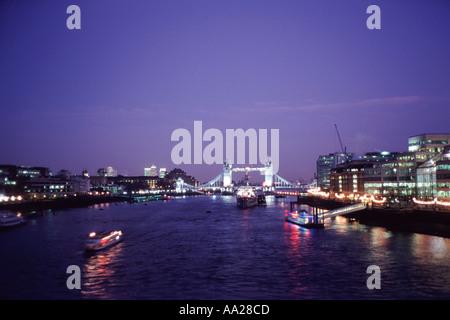 River Thames and Tower Bridge at night London England - Stock Image